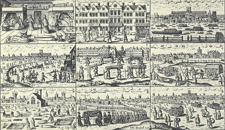 Nueve escenas de la peste, por John Dunstall (1644-1693)