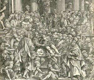 Detalle del frontispicio de Fabrica de Vesalio