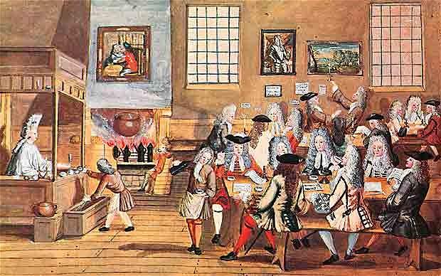 La ilustración muestra un café londinense, en 1668.