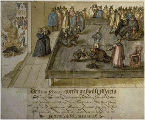 Dibujo de 1613, un artista holandés desconocido, que recrea la ejecución de María, en 1587.