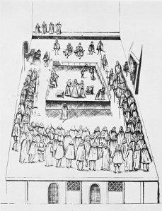 Boceto que representa el juicio de María, que se desarrolló el 14 y 15 de octubre de 1586.