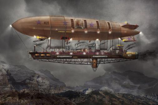 Steampunk - Blimp - Airship Maximus, por Mike Savad